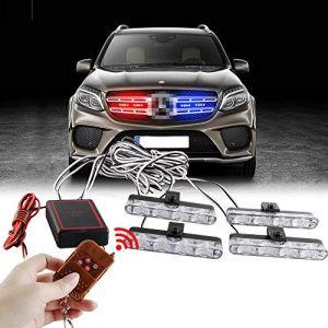 Sidaqi 4x4LED 4 en 1 télécommande sans fil 12V stroboscopique d'urgence lumière clignotant pour voiture camion DRL lumière de police ambulance (2 lumière Rouge, 2 lumière Bleu) (Caiwanbing, neuf)