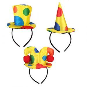 TOYANDONA Chapeau de Clown Chapeau Bandeau à Pois Chapeau de Clown pour Cirque Cosplay Costume Accessoires Accessoires de Jeu de Rôle de Clown Accessoires de Fête de Cirque 3Pcs (Cheryla, neuf)