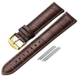 iStrap Bracelet de Montre 12mm/13/14/15/16/17/18/20mm Bracelet de Montre en Cuir véritable Intelligent de Remplacement en Cuir pour Hommes pour Femmes (Qimeila-EN, neuf)