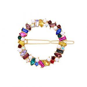 Pince à cheveux ronde perle Barrette strass géométrique en épingle à cheveux coloré pour les femmes mariage (Prottrepon, neuf)