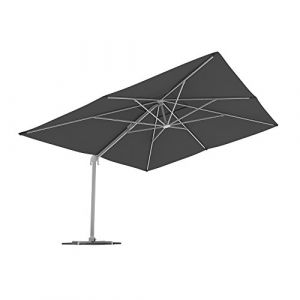 PARAMONDO Parapenda parasol à mât excentré  Parasol déporté pour jardin  4x3m (rectangulaire/gris)/compris l'armature et le pied forant(blanc) (Jalousiescout Shop, neuf)
