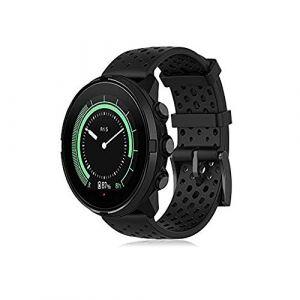 Buwico Bracelet pour Suunto 9, Bande de Remplacement en Silicone Bracelets de Montres Poignet Sangle de Sports pour Suunto Spartan Sport Wrist HR Baro/Suunto 9 /Suunto Traverse (Noir, L) (LiQian Tech, neuf)