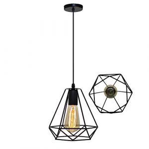 STOEX Lustre Suspension Industrielle Cage Géométrie Nid Style Vintage, Lampe de Plafond Métal Luminaire Abat-Jour, Noir (STOEX, neuf)