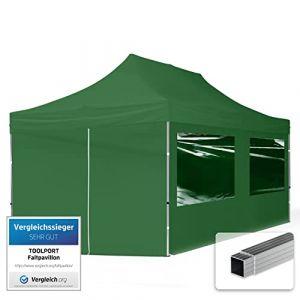TOOLPORT Tente Pliante 3x6 m - 4 côtés Aluminium Barnum Chapiteau Pliant Tonnelle Stand Paddock Réception Abri PES300 Vert (INTENT24, neuf)