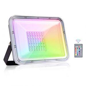 Viugreum® RGB Projecteur, 50W Projecteur LED Couleur 5000LM, Projecteur LED RGB IP67, 16 Couleurs 4 Modes Projecteur Multicolore, Eclairage couleur telecommandée pour Noël Soirée Jardin (Viugreum-EU, neuf)