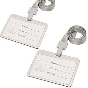 Lot de 2 porte-badges en alliage d'aluminium avec cordon de cou pour porte-badge de bureau Horizontal Silver (yubuofficial, neuf)