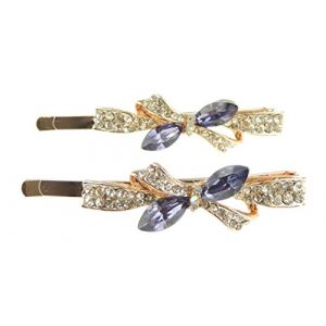 Femmes Filles de luxe Paire de cristaux brillants 6cm Barrettes à cheveux Nœud (Hats By Cressida_1, neuf)