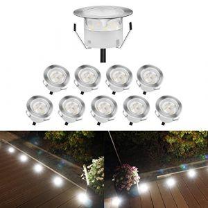QACA Lot de 10 Spots LED Encastrable,Mini Spots Encastré pour Escaliers Lumière pour Jardin, Patio, Spots Luminaires LED Decoration Eclairage Sécuritaire DC 12V Etanche IP67 (Pack 10,Blanc Froid) (SCQACA, neuf)