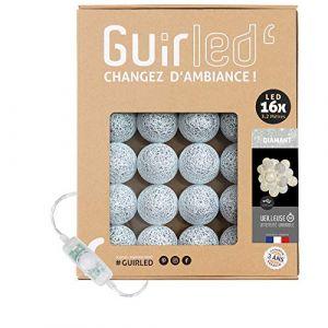 Guirlande lumineuse boules coton LED USB - Veilleuse bébé 2h - Adaptateur secteur double USB 2A inclus - 3 intensités - 16 boules 3.2m - Diamant (Lighting Arena, neuf)
