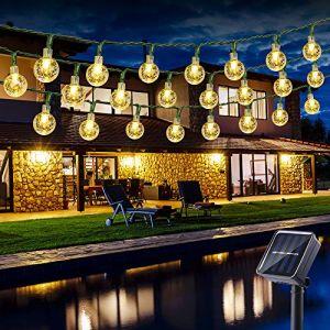 Guirlande Solaire Exterieure, BrizLabs 6.5M 30 LED Guirlandes Lumineuses Boules 8 Modes Etanche lampe solaire exterieu Décorative pour Soirée, Mariage, Jardin, Magasin, Maison Extérieure, blanc chaud (VegaHome Direct, neuf)