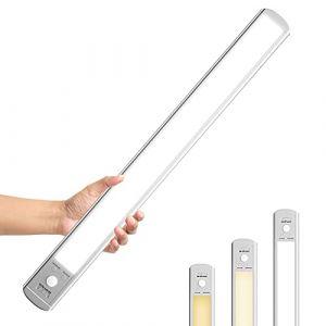 Epicflare Lampe de Placard 126 LED, Veilleuse de Rechargeable par USB, Reglette Led Aimanté Sans Fil, Détecteur de Mouvement, 3 Modes d'Éclairage, Portable. Led Cuisine, Baladeuse de Secours. (Aroomo, neuf)