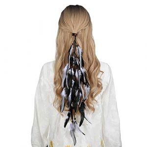 Bandeau en plumes coiffe hippie indienne - coiffes en plumes à gland Boho pour femmes Costume Festival chapeaux (Noir + blanc) (anjerry, neuf)
