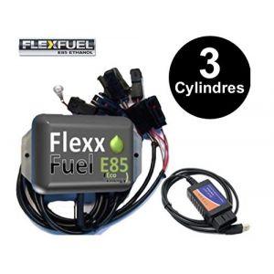 Kit Ethanol Flex Fuel - E85 - Bioethanol - 3 Cylindres + Interface de Diagnostic ELM327 - Compatible avec Renault, Peugeot, Citroen, Ford, BMW, Audi. (Honda) (Boutique-Mister-Express, neuf)