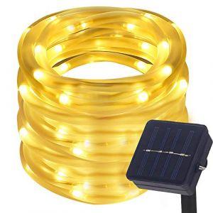 DULEE Guirlande Tube Lumineuse Solaire 10M 100 LED Tube Lumineux Extérieur étanche Lumière de Fée Décorative,Blanc Chaude (DULE, neuf)