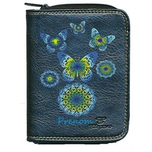 Porte monnaie porte carte noir Motif Papillon Bleu Vert personnalise avec votre prenom (sylla city, neuf)