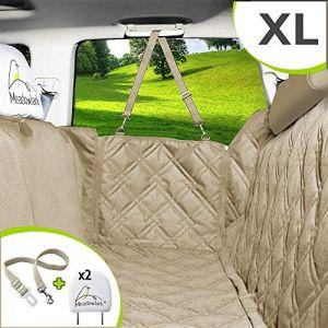 Meadowlark® Housse de siège pour chien voiture XL Beige universelle Imperméable! Protection complète banquette arrière vehicule + portières + 2 appuis-tête. Couverture pour animaux qualité supérieure! (CHOYZ, neuf)