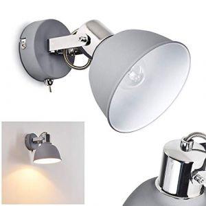 Applique murale Dompierre en métal gris et blanc, spot rétro industriel pivotant avec interrupteur intégré, idéal dans un salon vintage, pour 1 ampoule E14 max. 25 Watt, compatible ampoules LED (hofstein, neuf)