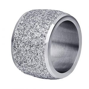 PAURO Bande de Mariage Large 16mm Frotter Bague Femme Acier Inoxydable Argent Taille 57 (BuyPAURO, neuf)