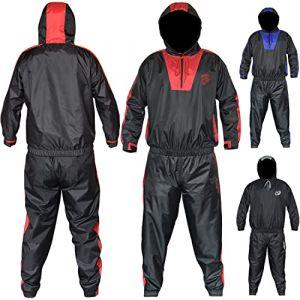 AQF Combinaison Sudation Fitness Sauna Suit Tenue De Sudation pour Gym Et Le Jogging Unisexe Perte De Poids Survetement (Rouge, S) (SPORTS INSIDE, neuf)