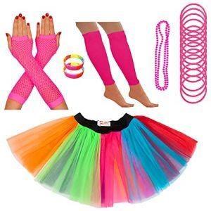 Redstar Fancy Dress - Tutu/guêtres/Mitaines résille/Collier de Perles/Bracelets en Caoutchouc/Bracelets Fluo - Arc-en-Ciel - 36-40 (Redstar Online, neuf)