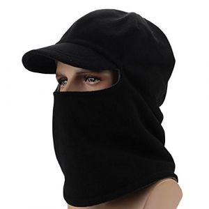 Unisexe Cagoule coupe-vent en polaire Masque de ski Sports de plein air Masque Tête de Mort Casquette avec visière, noir (Hitaogo, neuf)