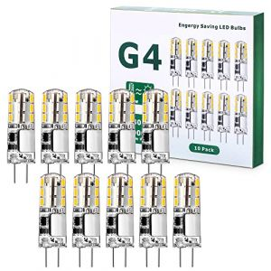 G4 LED Ampoule 1.5W 12V, 10 PACKS 150LM AC/DC Ampoules 9mm x 36mm, Equivalent 20W Halogène Lampe Blanc Chaud 3000K Non Dimmable pour Chambre Salon Cuisine Jardin [Classe énergétique A+] (ZhiWanHeng, neuf)