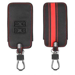 kwmobile Accessoire Clef de Voiture pour Renault - Coque de clé de Voiture en Simili Cuir pour Clef de Voiture Smart Key (Keyless Go Uniquement) Renault 4-Bouton - Rouge-Noir (KW-Commerce, neuf)