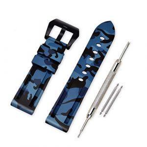 VINBAND Bracelet Montre Camo Remplacer Silicone Bracelet Montre - 20mm, 22mm, 24mm, 26mm Caoutchouc Montre Bracelet avec Acier Inoxydable Boucle for Panerai (20mm, Blue-Black) (vinband direct, neuf)