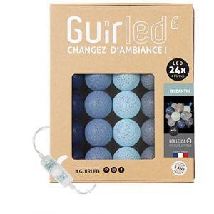 Guirlande lumineuse boules coton LED USB - Veilleuse bébé 2h - Adaptateur secteur double USB 2A inclus - 3 intensités - 24 boules 4m - Byzantin (Lighting Arena, neuf)