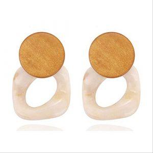 Épingles d'oreille Bohême en bois balancent boucles d'oreilles bijoux en bois déclaration boucles d'oreilles Bohoboucle d'oreille Accesoriose476b (Graceguoer, neuf)