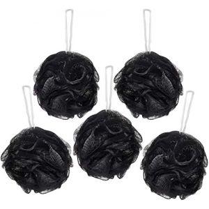 BRUBAKER Cosmetics - Fleur de bain & douche - Lot de 5 - Éponge exfoliante - Qualité supérieure - Nylon - Noir (BRUBAKER (Der Schnellversender!), neuf)