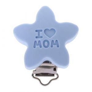 Chiic Silicone Sûr Bébé Sucette Clips, Mignonne Forme d'étoile Attache pour mannequin pour nouveau-né Bébé Dentition (Bleu clair) (Xiangrun, neuf)