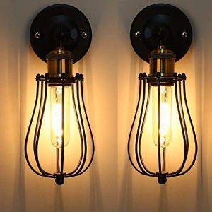 2PC E27 Rétro Metal Murale Applique Luminaire Antique Murale Applique Cage Finition de Laiton Industriel Supensions Luminaire Plafonnier Lumiere Vintage Edison Lampe Douille E27 (WanLianInc, neuf)