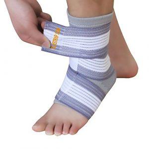 Tendinite Talon d'Achille Gonflé Inflammation - Bande Cheville Strapping Chevillère - Douleurs et Blessure Rupture (Chevillère + Bande élastique GRIS/BLANC) (Elastrap, neuf)