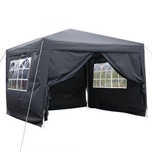 mymotto Pop-Up Auvent 3 x 3 x 2.6m Tente Chapiteau de Reception en Polyester Support en Aluminium avec 4 Panneaux Latéraux et 2 Fenêtres pour Party et Camping (Noir) (mymotto, neuf)