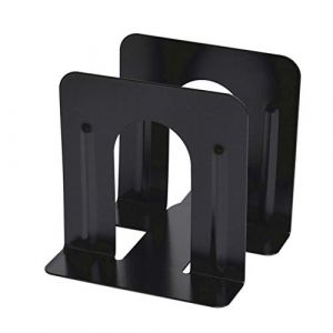 Serria Serre-livres noir Lot de 2 Mode simple Style vertical en longueur livre antidérapante Art Serre-livres décorative en métal solide pour Home Office Album d'étude étagère (Serria, neuf)