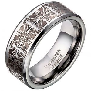 JewelryWe Bijoux Bague Homme Laser Gravure Croix Alliance Acier Tungstène Anneaux Fantaisie (Taille de Bague 64.5) (JewelryWe Bijoux, neuf)