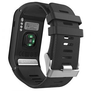 MoKo Garmin vívoactive® HR bracelet, Replacement WatchBand Wristband en Silicone souple Band pour Garmin Vívoactive HR Montre multisports cardio poignet, Noir (Guohe, neuf)