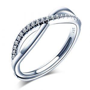 Infinite U Bague ajustable en Argent 925 pour femme fille Anneau d'alliance La marque infini orné zirconium Cadeau idéal pour anniversaire mariage (Infini U, neuf)