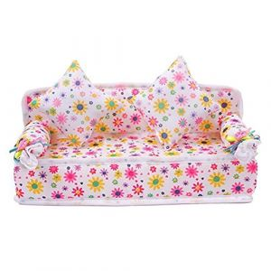 Mini Furniture Flower Sofa Couch +2 Cushions For Barbie Doll House Accessories (Broadfashion, neuf)