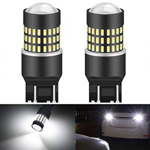 KaTur 7443 7444NA 7440 7440NA 992 Ampoule LED 900 Lumens 3014 78SMD Lentille Ampoules LED pour feu Stop Clignotant Feu arrière pour Feux de recul, Blanc Xenon (Lot de 2) (KAtur, neuf)