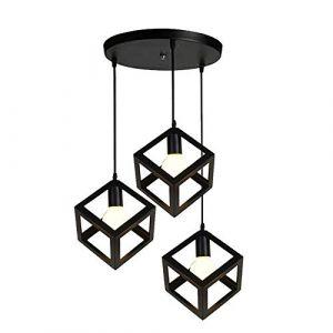 STOEX Lustre Suspension Industrielle Vintage Cage Cube en Métal Fer Noir (STOEX, neuf)