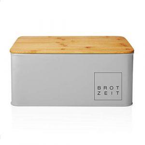 Lumaland Corbeille à Pain de Cuisine en métal avec Couvercle en Bambou, rectangulaire, ca. 30,5 x 23,5 x 14 cm Gris Clair (Lumaland Vertriebs GmbH, neuf)