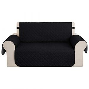 Deconovo Housse de Canape Clic Clac Antidérapant 2 Places Protection Matelasse pour Sofa Motif Géométrique 116x190cm Noir (Deconovo-Home, neuf)