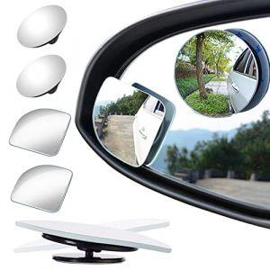 Lot de 4 miroirs angle mort pour troviseur, rotation glable 360° + inclinaison rglable, en forme dventail, miroir HD rond de 5,1 cm sans cadre, miroir convexe pour rtroviseur pour toutes les voitures, camion, SUV (MOOOON, neuf)