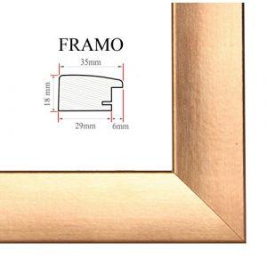 FRAMO 35mm Cadre photo sur mesure pour photos de 40 x 60 cm, couleur : Cuivre, cadre fait main en MDF doté d'un verre synthétique antireflet incassable et d'un fond résistant, largeur du cadre : 35 mm, dimensions extérieures : 45,8 cm x 65,8 cm (Framecent