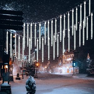 10 Tubes 30CM LED Météore Pluie Lumineuses Guirlandes Solaire,DINOWIN Lumineux Etanche Extérieur Douche Pluie Feux pour Noël Mariage Fête Soirée Maison Arbre Sapin Jardin (Blanc) (tuankayuk, neuf)