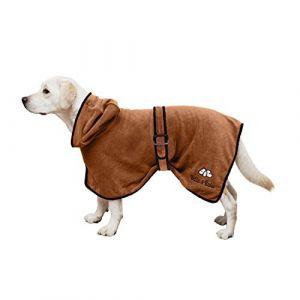 Bella & Balu Peignoir pour chien en microfibre - Peignoir pour chien absorbant pour séchage après baignade, bain ou sortie sous la pluie (M | Marron) (ManuCo, neuf)