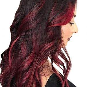 Tireow Perruque sexy Gradient Noir Rouge Party Perruque Cheveux Longues Perruque Synthétique (MEImei, neuf)