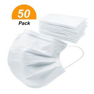 Lot de 50 Masques Protecteurs Anti-poussière Masques Jetable de 3 Couches Filtre Charbon Masques Visage 4 couches Masque Chirurgical avec pince-nez Fixations de Verre-oreille boucles élastique (PennyUK, neuf)